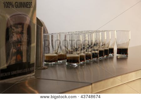 Glasses Of Beer Served For Tasting At The Guinness Brewery