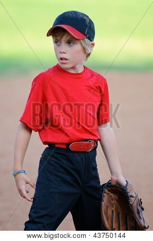 Little League Baseball Player Looking Sideways