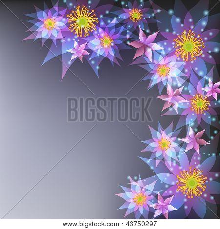 Floral fondo gris, tarjeta con flores de felicitación