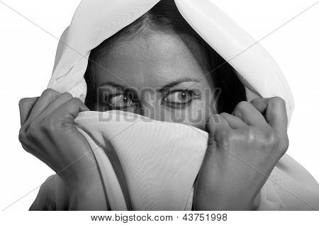 Scared Southern Girl In White Hijab