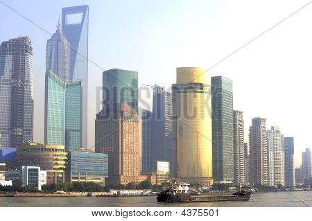 Pudong Skyline At Sunset, Shanghai, China