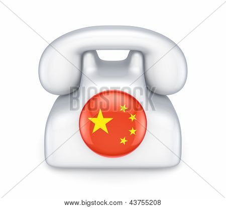 Retro telephone with chinese flag.