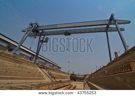 Big mobile crane in dockyard