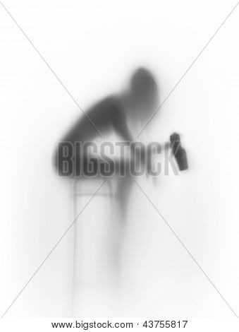 Slim sitting woman body silhouette, with bottle