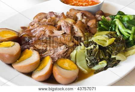 Stewed Pork Leg With Five Spices, Served With Eggs And Pickle