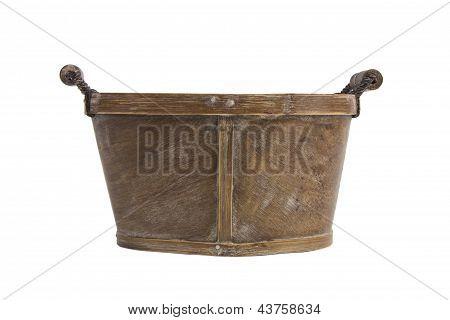 Empty Bushel Basket With A Wood Handle