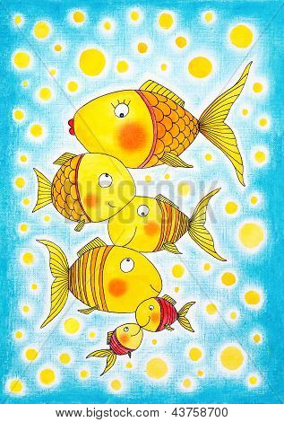 Group of gold fish, child's drawing, watercolor painting on paper