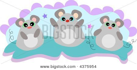 Three Friendship Mice In Pastel Colors Vector