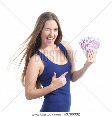 Beautiful Woman Holding And Pointing A Lot Of Five Hundred Euro Banknotes
