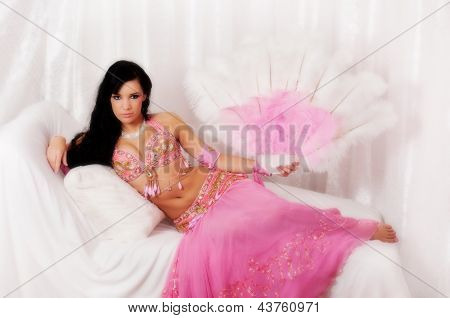 Belly Dancer Wearing a Light Pink Costume