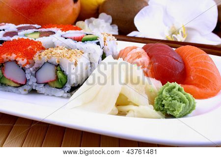 Assorted Sushi With Wasabi And Chopsticks