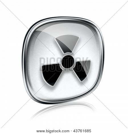 Radioactive Icon Grey Glass, Isolated On White Background.