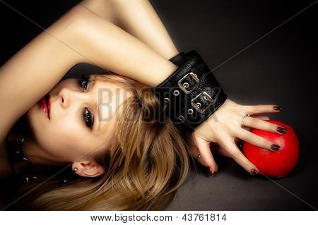 sexy girl in leather handcuffs