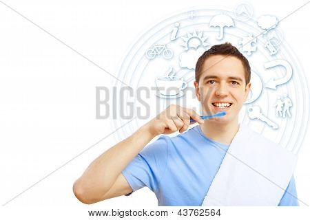 Rapaz com escova de dente