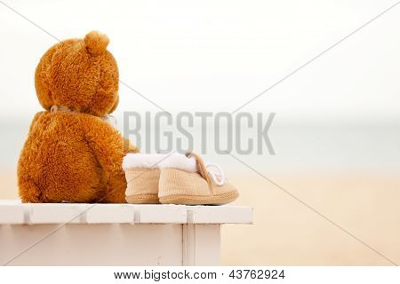 Loneliness Teddy Bear And Baby's Bootees Stay On A Sunbed