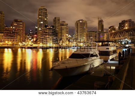 Granville Island, Night Yachts, Vancouver