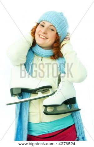 Cheerful Young Woman Goes Ice-skating