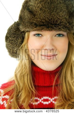 Beautiful Woman Wearing Warm Winter Clothes