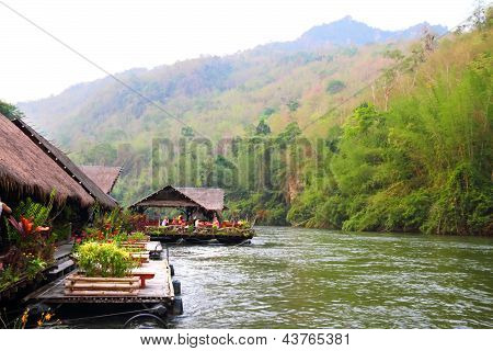 Bungalows On The Kwai River In Thailand