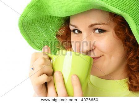Pretty Girl Drinking Tea