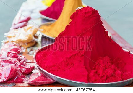 Piles And Mounds Of Indian Colorful Dye