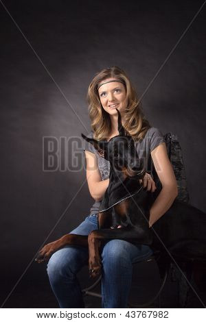 Woman With Dobermann Dog