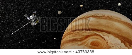 Nave espacial de Voyager perto de Júpiter e seus satélites - Render 3D
