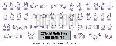 Illustration concept of 52 Different Social Media style hand gestures - Count, Counting, Love, like,