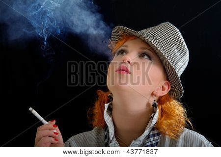 Elegant Woman Smoking Cigarette