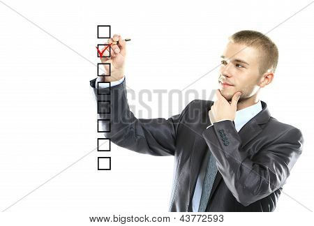 business man choose check mark on box