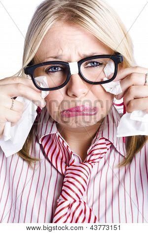 Crying Nerdy Businesswoman