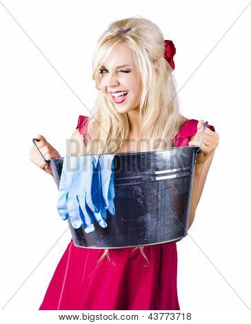Woman With Bucket And Rubber Gloves