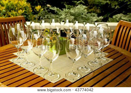 Wine glasses prepared for wine tasting