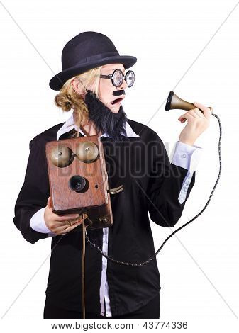 Woman Holding Antique Telephone