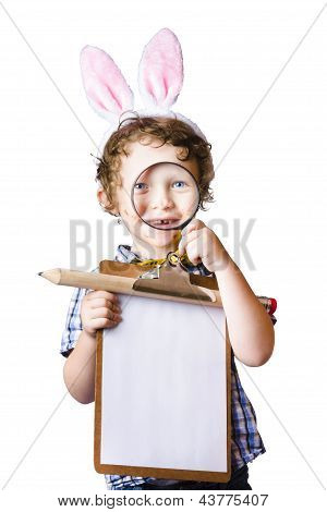 Bunny Ears Boy Holding Clipboard