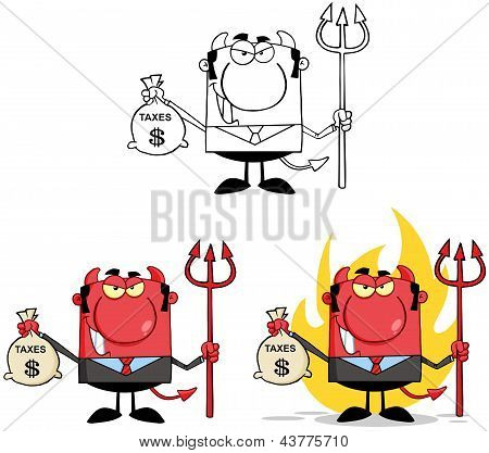 Smiling Devil With A Trident And Holding Taxes Bag.Collection