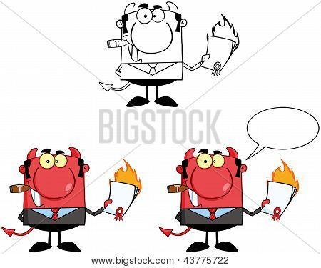 Devil Boss Holding A Flaming Bad Contract In His Hand.Collection