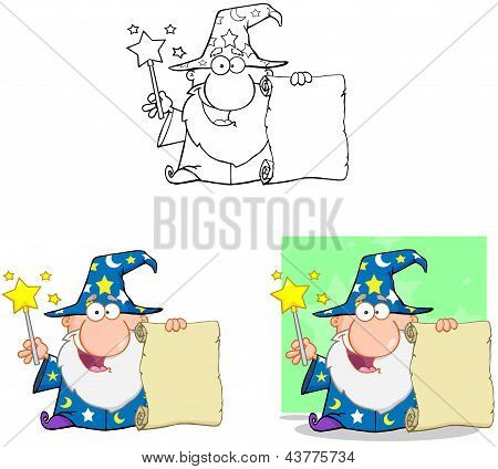 Funny Wizard Waving With Magic Wand And Holding Up A Scroll. Collection