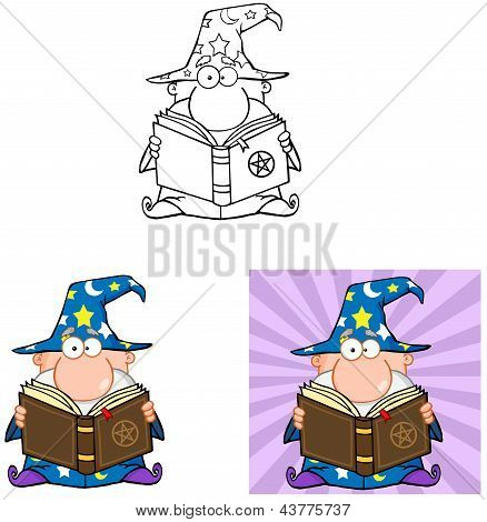 Funny Wizard Holding A Magic Book .Collection