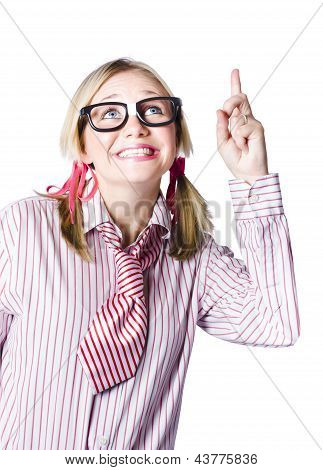 Brainy Business Woman Pointing To Copyspace