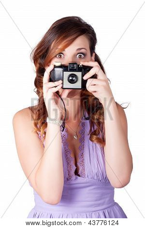 Surprised Woman Taking Picture With Old Camera
