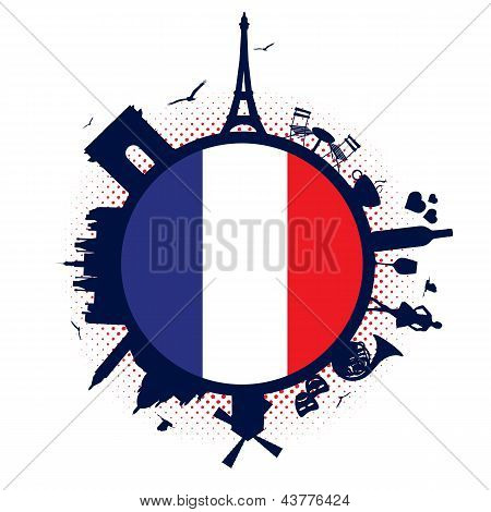 France flag and silhouettes