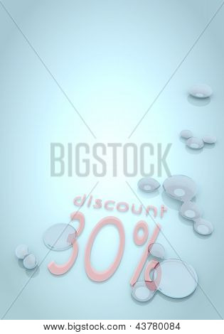 3d graphic of a glossy discount sign