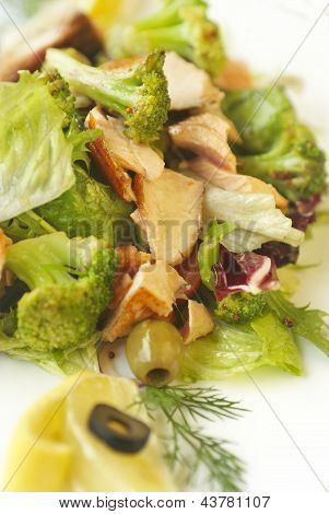 Vegetables salad with salmon and broccoli