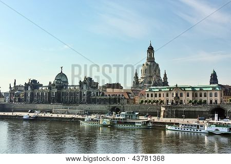 Embankment Of The Old Town Of Dresden,saxony,germany