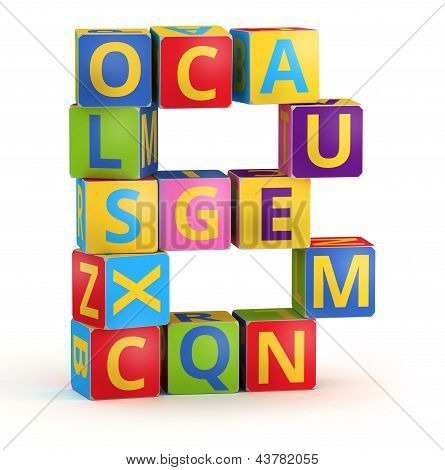 Letter B maked from abc cubes