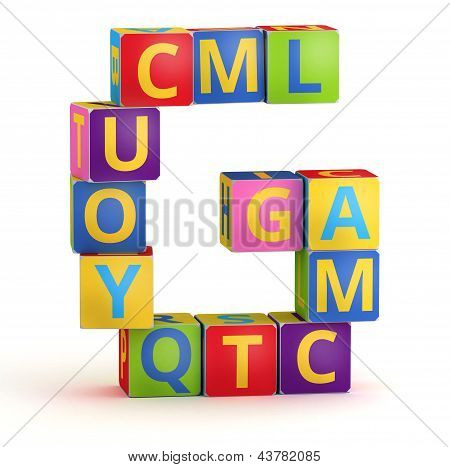 Letter G maked from abc cubes