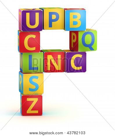 Letter P maked from abc cubes