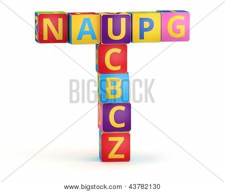 Letter T maked from abc cubes