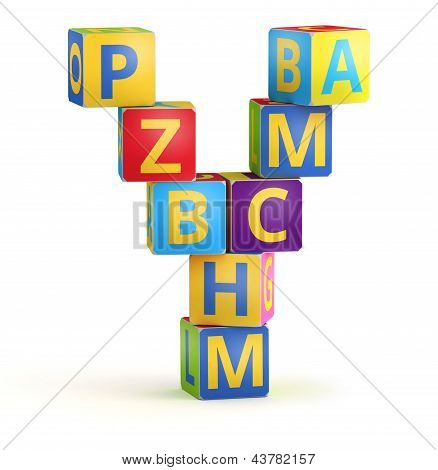 Letter Y maked from abc cubes